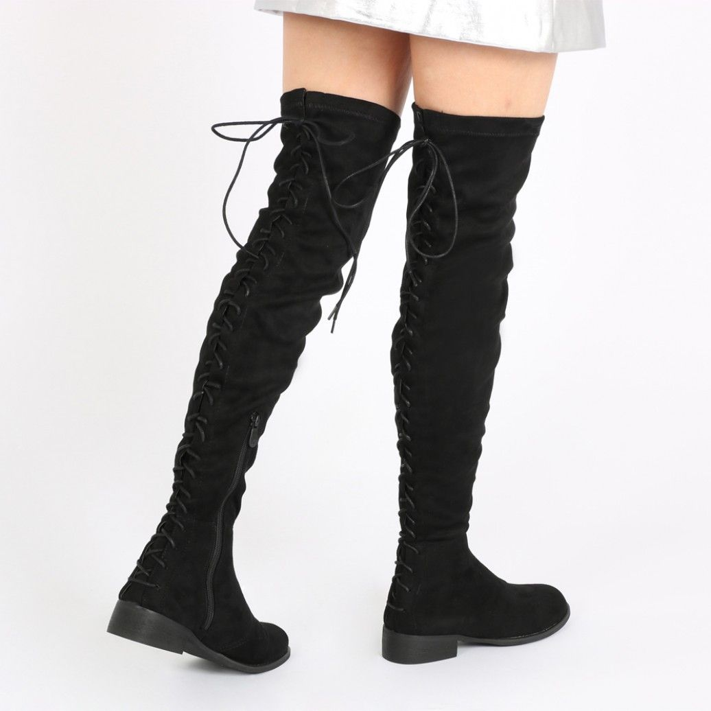 Flat Long Boots in Black Faux Suede