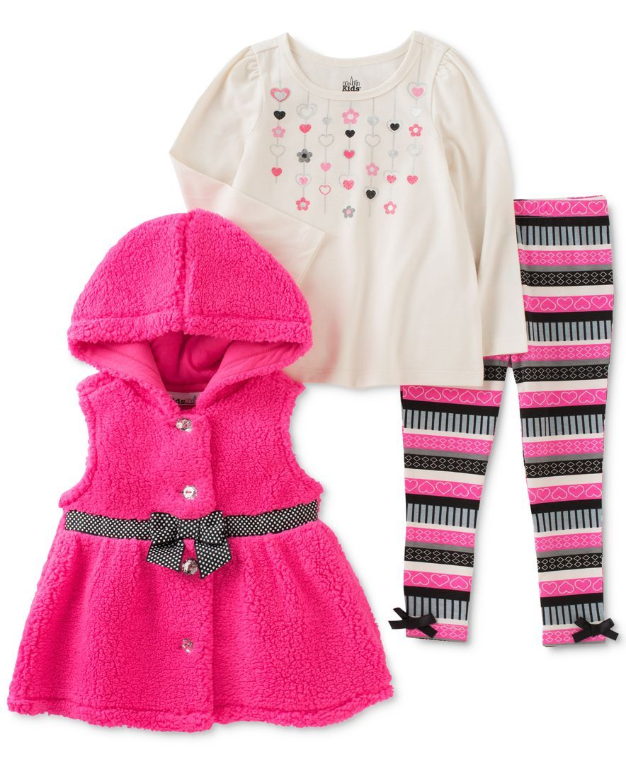 Kids Headquarters Girls 3 Piece Set Butterfly Shirt Pants /& Polka Dot Jacket