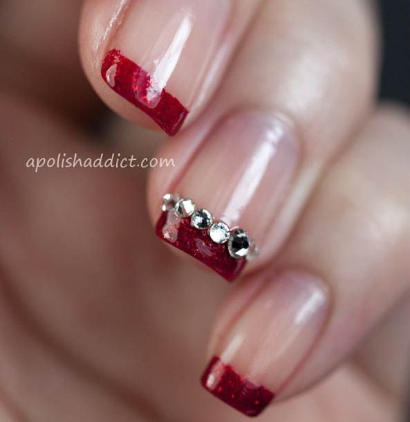 Red, Glittery French Tip - 31 Cool French Tip Nail Designs StayGlam Beauty Pinterest Mani