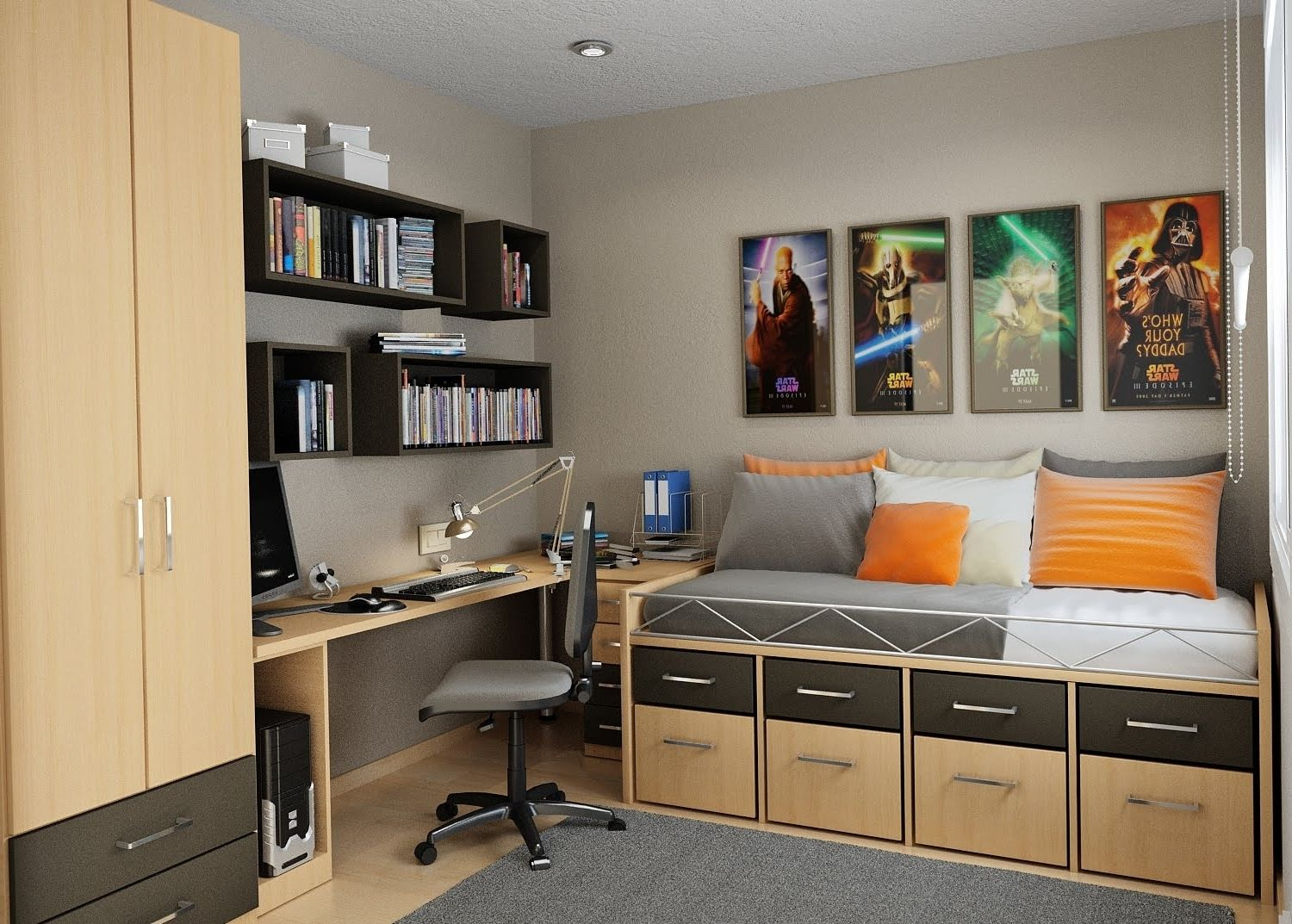 Cool Bedroom Ideas For Teenage Guys Small Rooms Home Office Design Small Space Bedroom Small Room Design