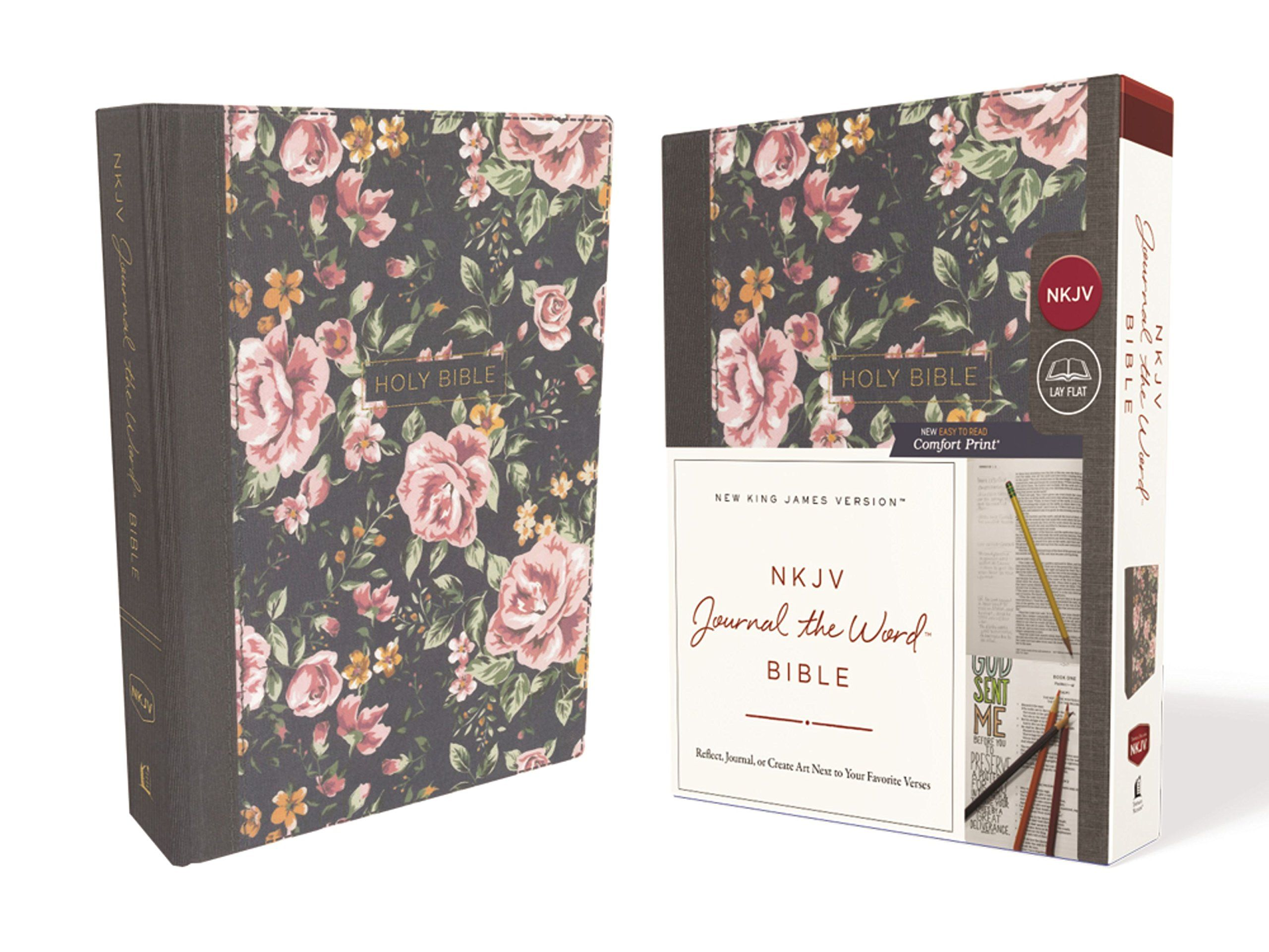 NKJV, Journal the Word Bible, Cloth over Board, Gray Floral
