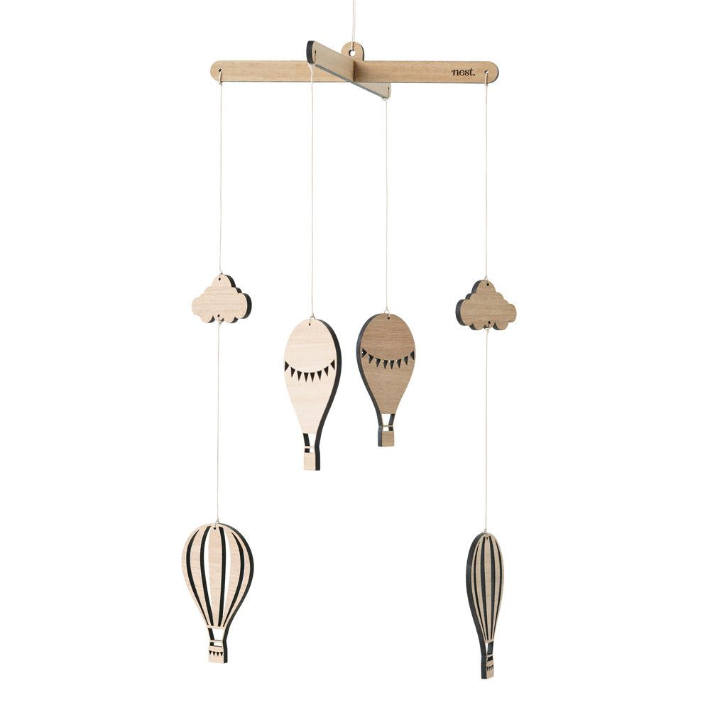 Hot Air Balloon Wooden Mobile For Nursery