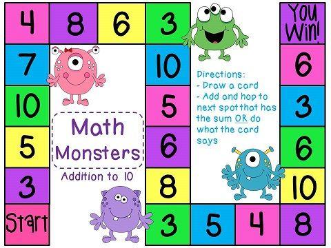 Addition Game Math Board Games Math Kindergarten Math