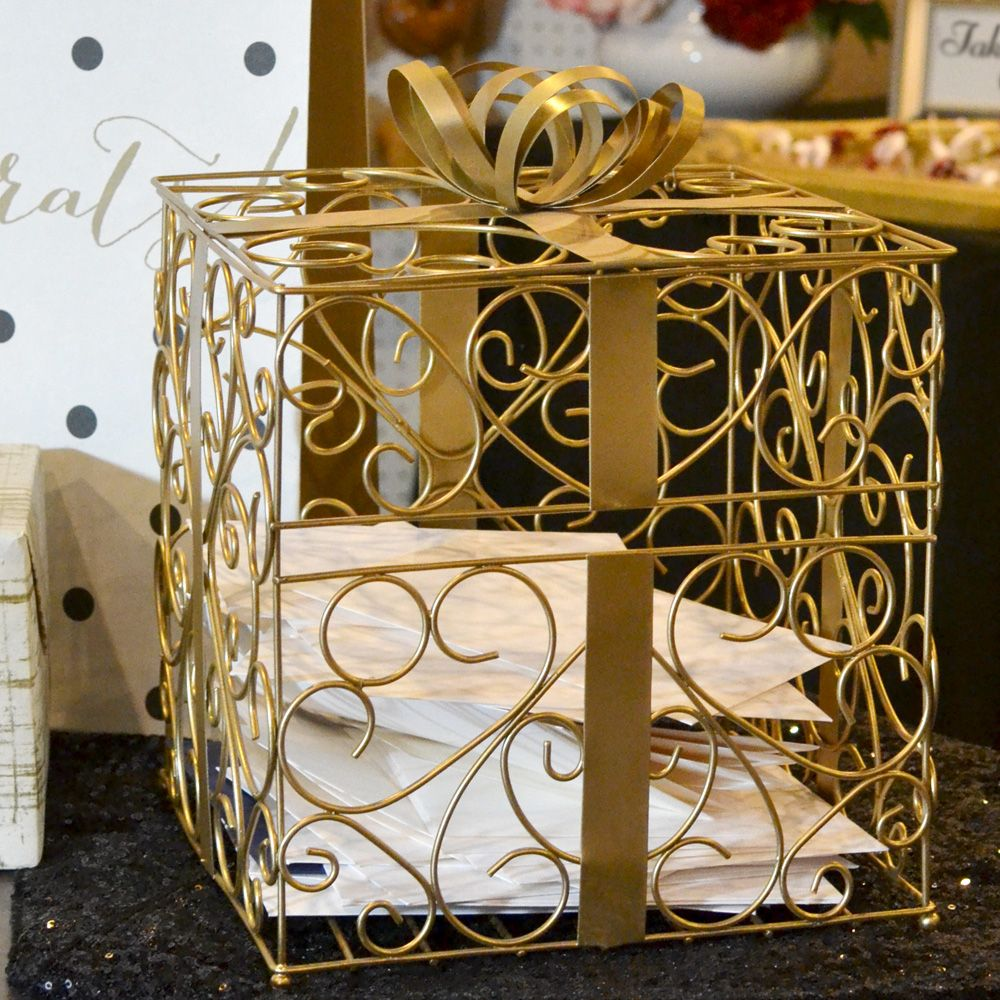 wood wedding card holders%0A Gold Metal Scroll Wedding Gift Card Box Receptions Ribbons And Bows