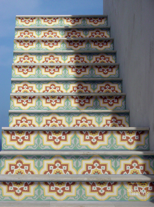 stairs with Moroccan tiles...