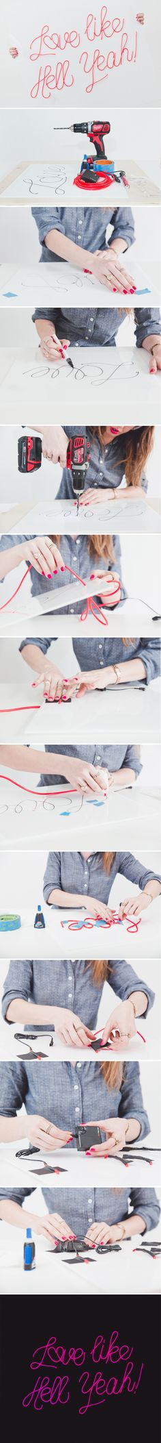 How To Make a DIY Neon Sign with EL Wire | A Practical Wedding