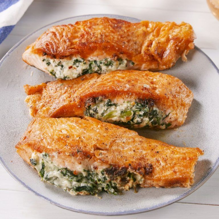 Creamed Spinach Stuffed Salmon | 5* trending recipes with videos