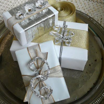 Ivory paper/silver & gold ribbon and adornments