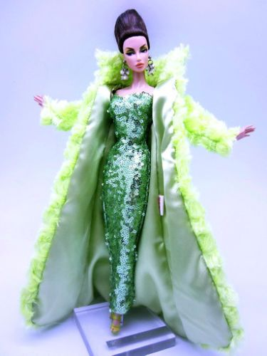 Eaki-Fur-Coat-Green-Dress-Outfit-Gown-Silkstone-Barbie-Fashion-Royalty-Candi-FR