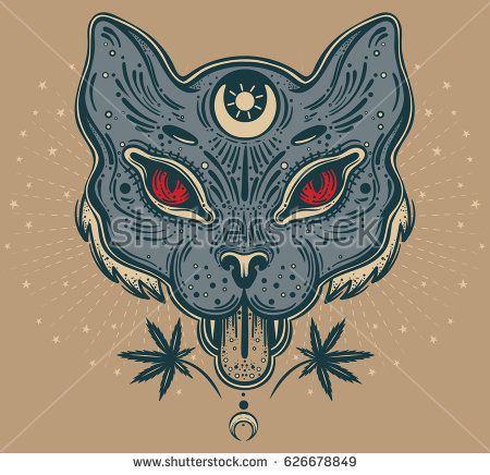 Hand drawn beautiful artwork of cat head. Vector illustration for coloring book, t-shirts, tattoo art, boho design, posters, textiles. Isolated vector illustration.