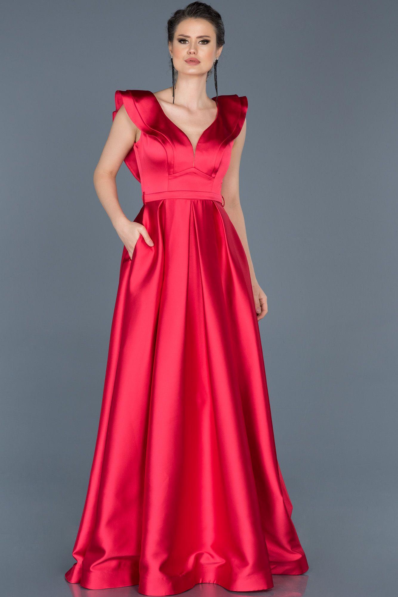 b0d90b083e9c6 Kolsuz V Yaka Nişan Elbisesi ABU576 | 2019 Trend Abiye Elbise ...