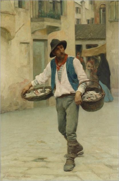"""Venetian Fish Seller"". (by Giuseppe Barison)."