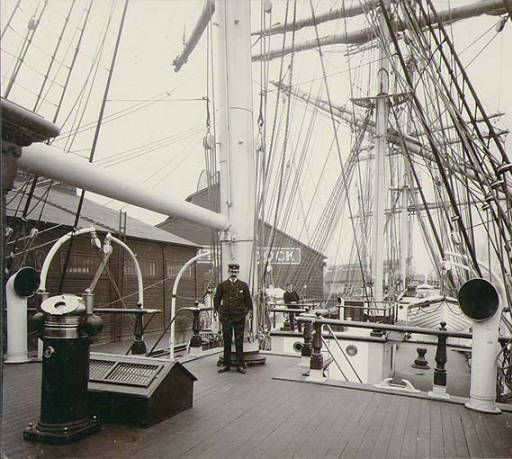 Deck of the sailing vessel EVA MONTGOMERY at dock probably either in Tacoma or Seattle, Washington, ca. 1904. :: Wilhelm Hester Photographs