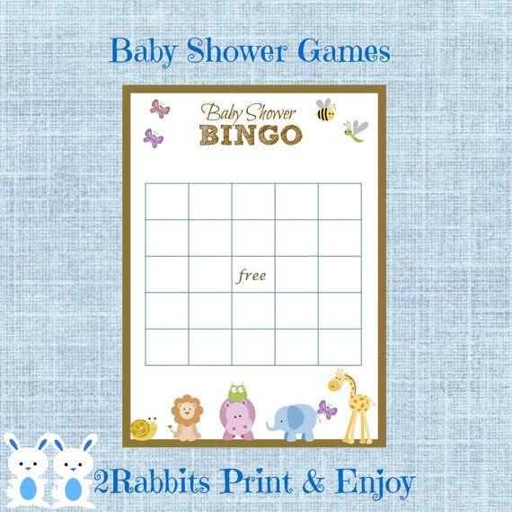 Safari Jungle Animal Baby Shower Bingo Gift Cards Game