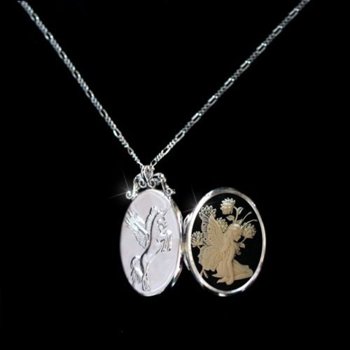 Sterling-Silver925-Slim-Photo-Locket-Pendant-Butterfly-Fairy-Necklace-Chain