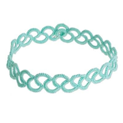 Hand-tatted anklet, 'Wavy Illusion in Aqua'