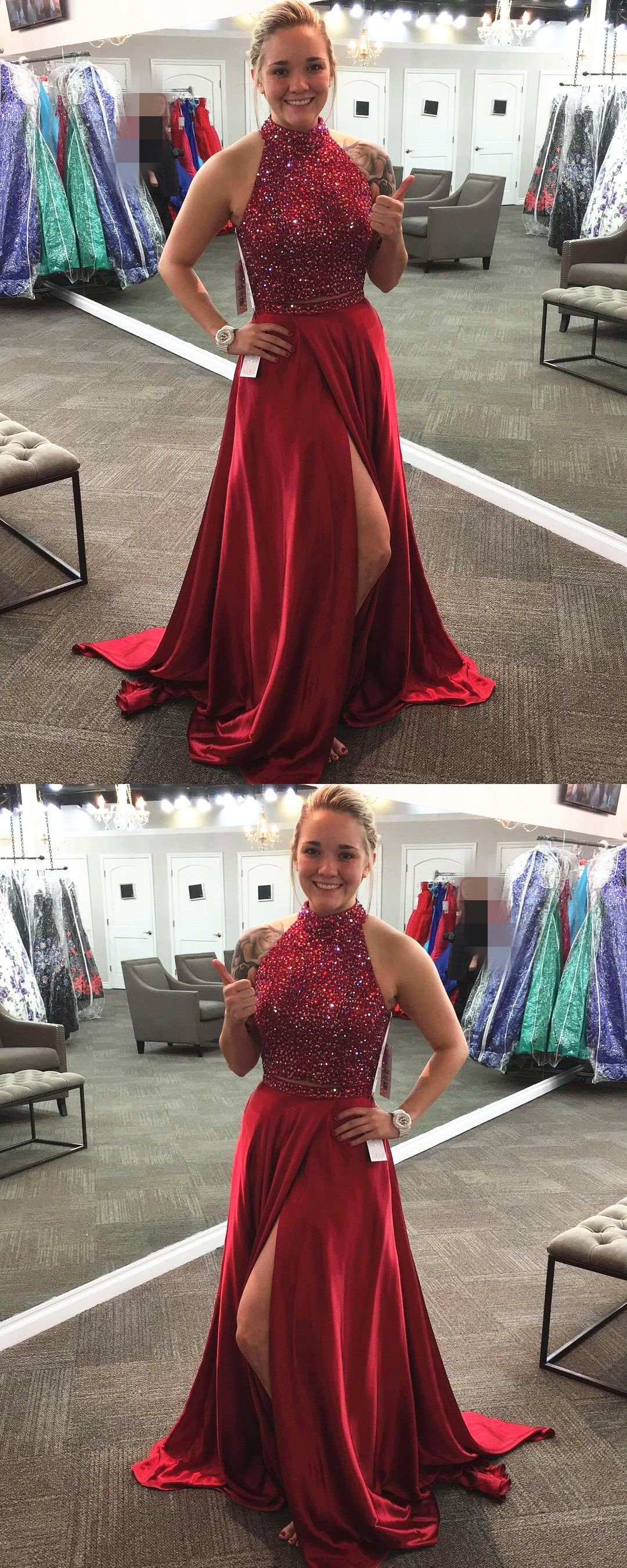 Two piece prom dresssatin prom gowns piece prom dressburgundy