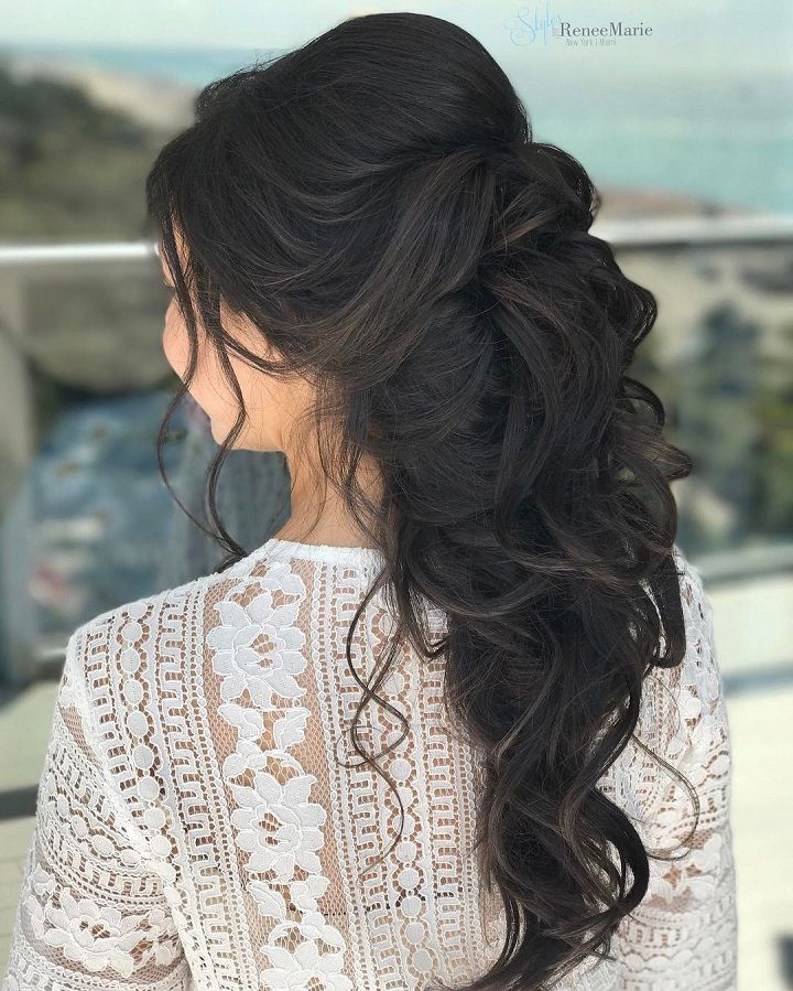 Romantic Wedding Hairstyles For Long Hair: Soft Romantic Curls In A Half-Up Style