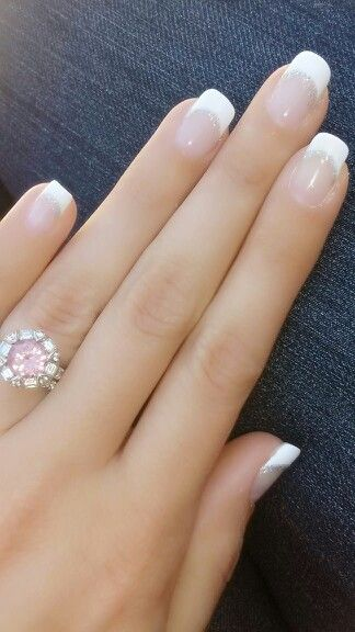 French manucure with silver glitter line