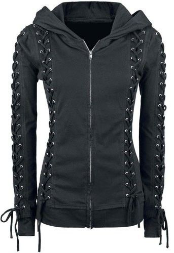 Chic Hooded Long Sleeve Lace-Up Zippered Hoodie Fo