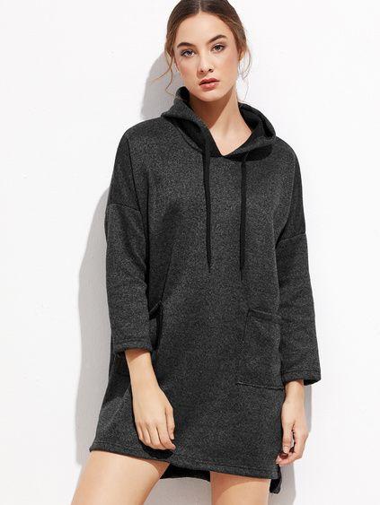 Black Slit Side High Low Hooded Dress