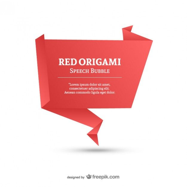 Red origami speech bubble template Free Vector Shapes, quote - freedom of speech example template