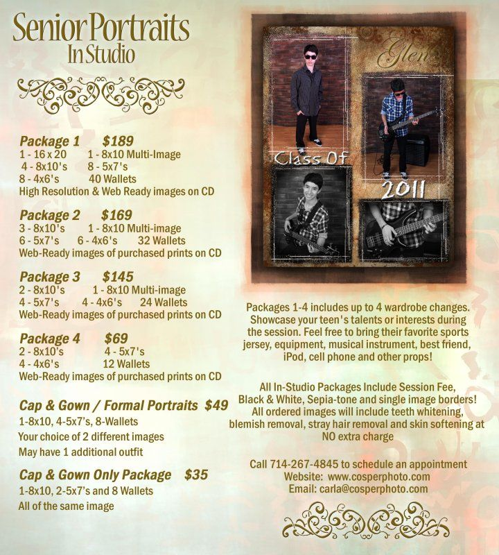 Package details and prices for Senior Portraits! Call 714-978-3590