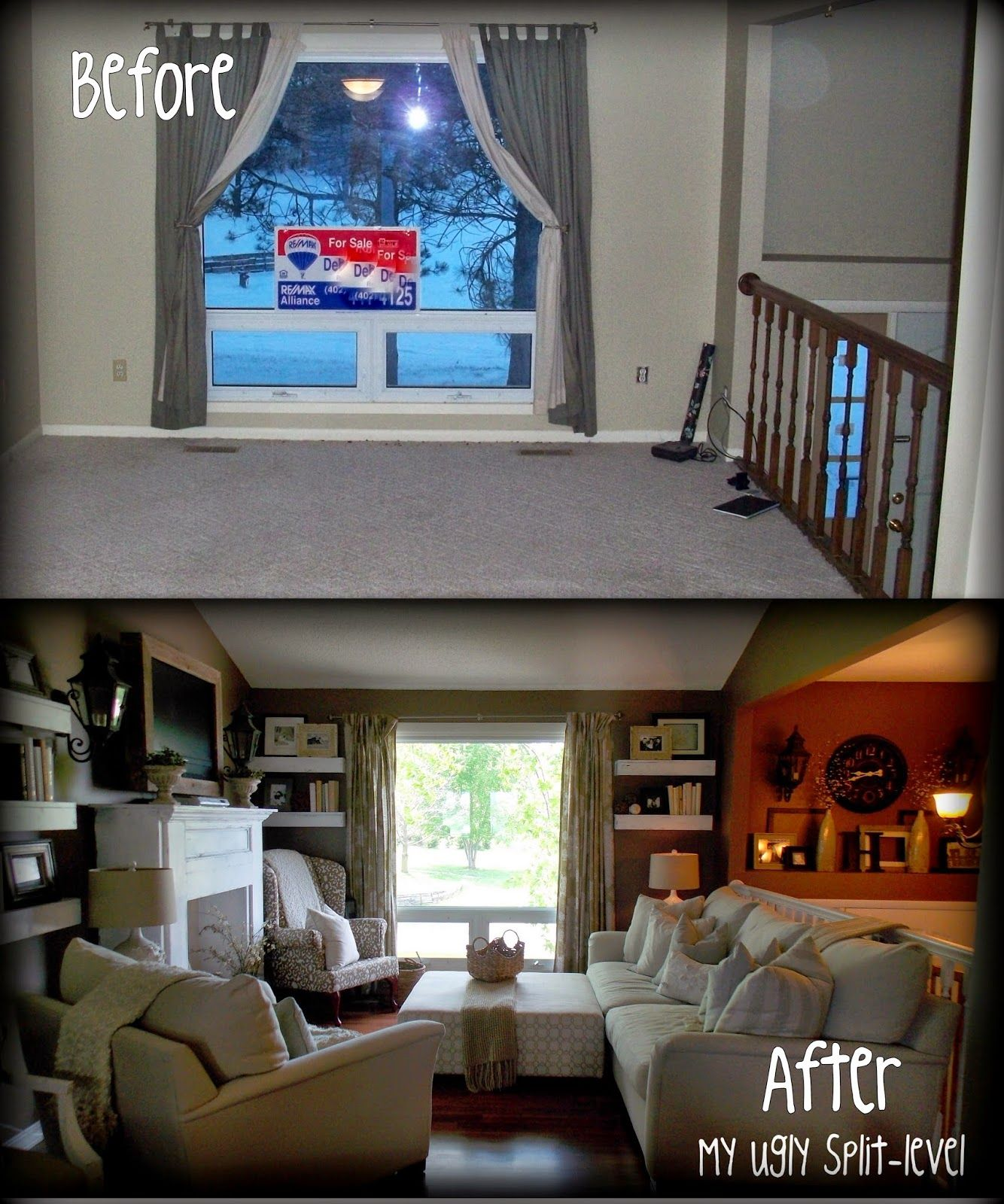This lady has tons of thrifty ideas for redecorating a for Split entry living room decorating ideas