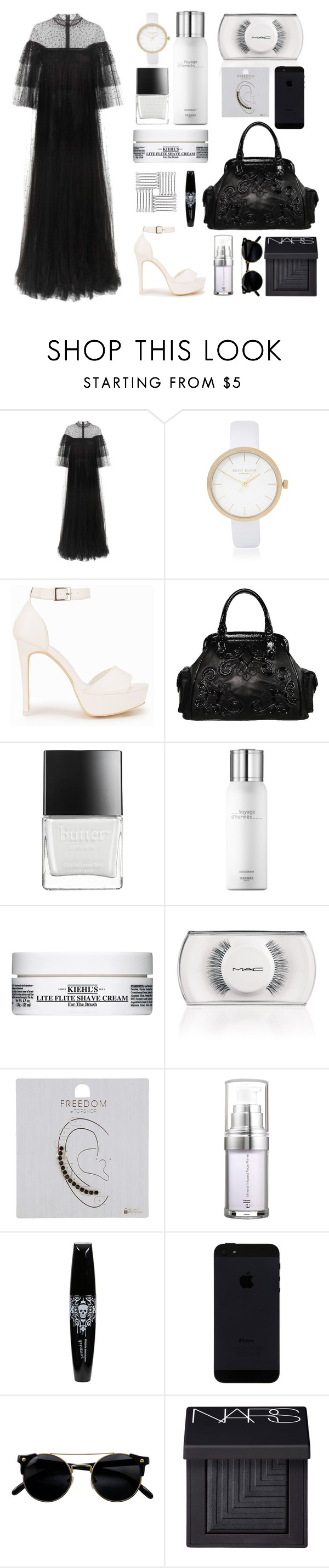 """Untitled #9"" by missmoon94 ❤ liked on Polyvore featuring Valentino, River Island, Nly Shoes, Isabella Fiore, Butter London, Hermès, Kiehl's, MAC Cosmetics, Topshop and e.l.f."