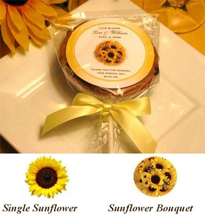 sunflower wedding cookie pop favors bridal shower by shadow090109 225