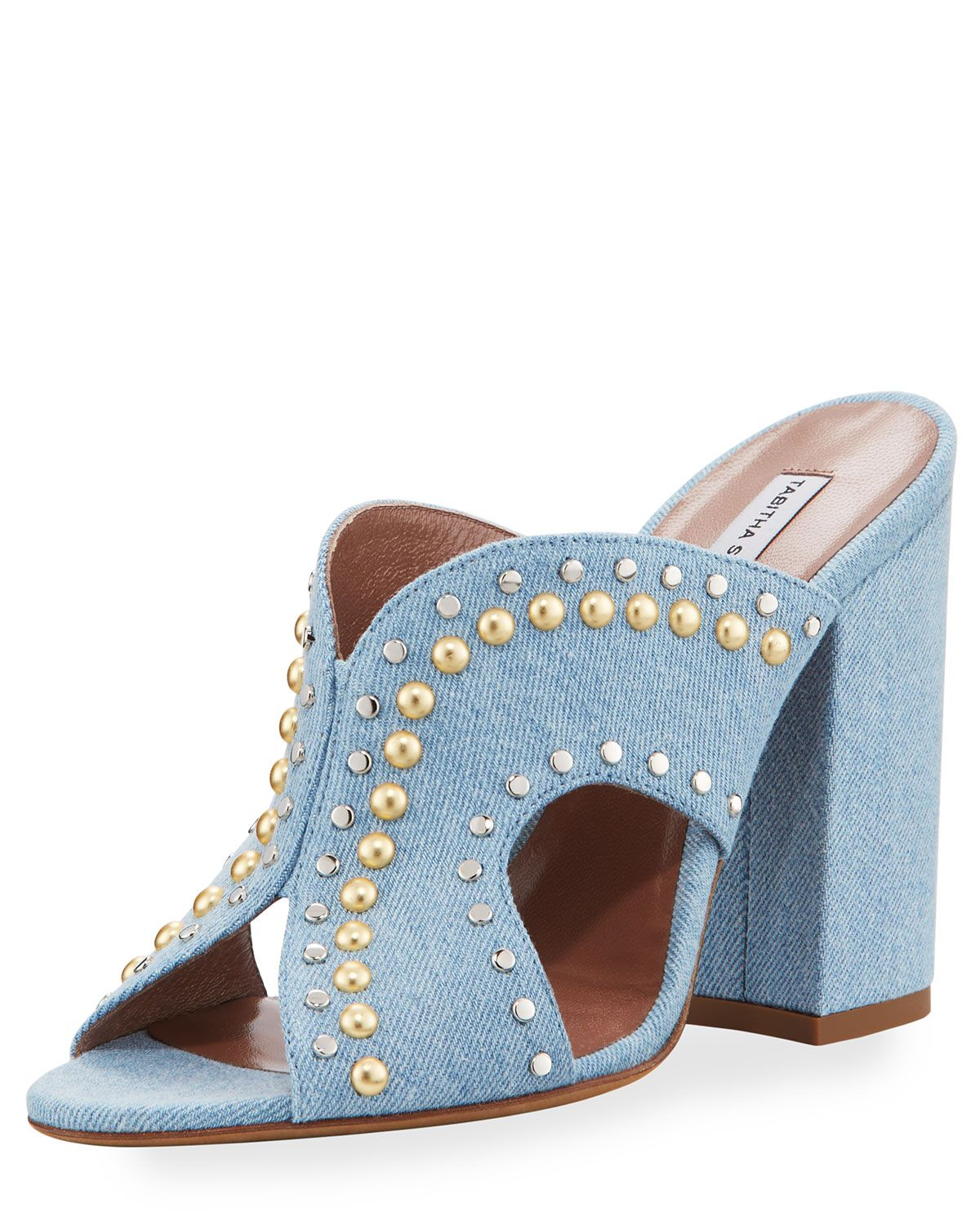 Tabitha Simmons Celia Studded Denim Sandals