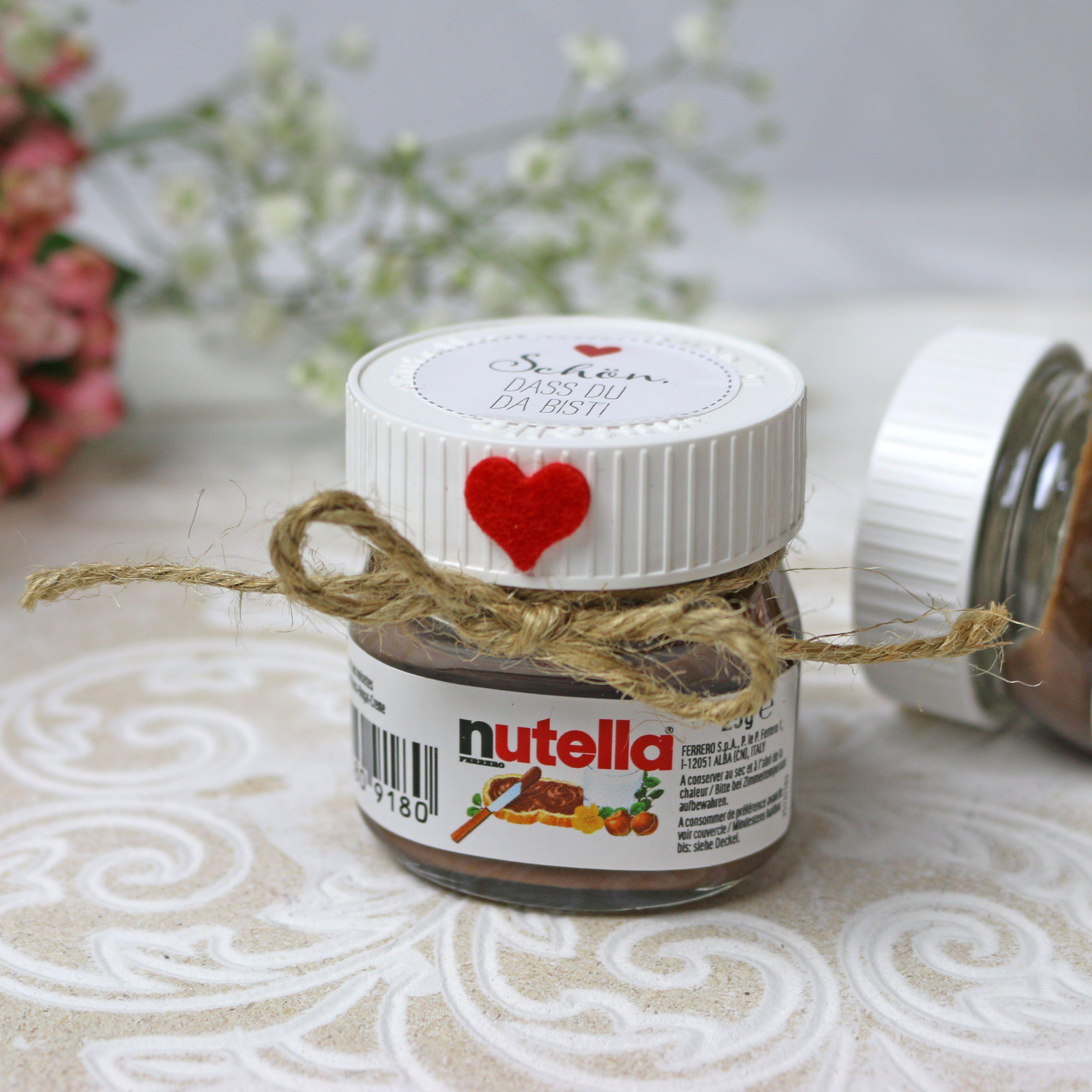 Mini Nutella Als Gastgeschenk Fur Die Hochzeit Wedding Favor Nutella Gastgeschenk Geschenke Gastgeschenke Nutella Mini