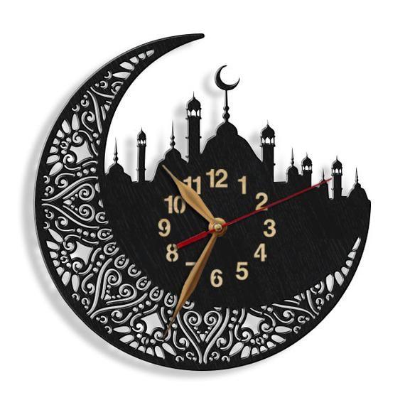 Islamic Mosque Big Arabic Digits Wood Wall Clock Large Etsy Wood Wall Clock Large Wall Clock Wall Clock Design