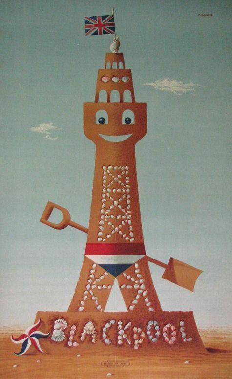 1952 Abram Games British Rail Blackpool Vintage Travel Poster