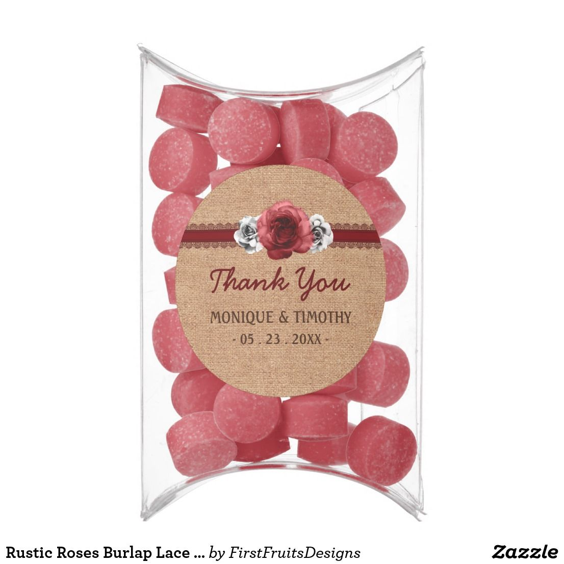 Rustic Roses Burlap Lace Thank You Wedding Favors Chewing Gum This ...
