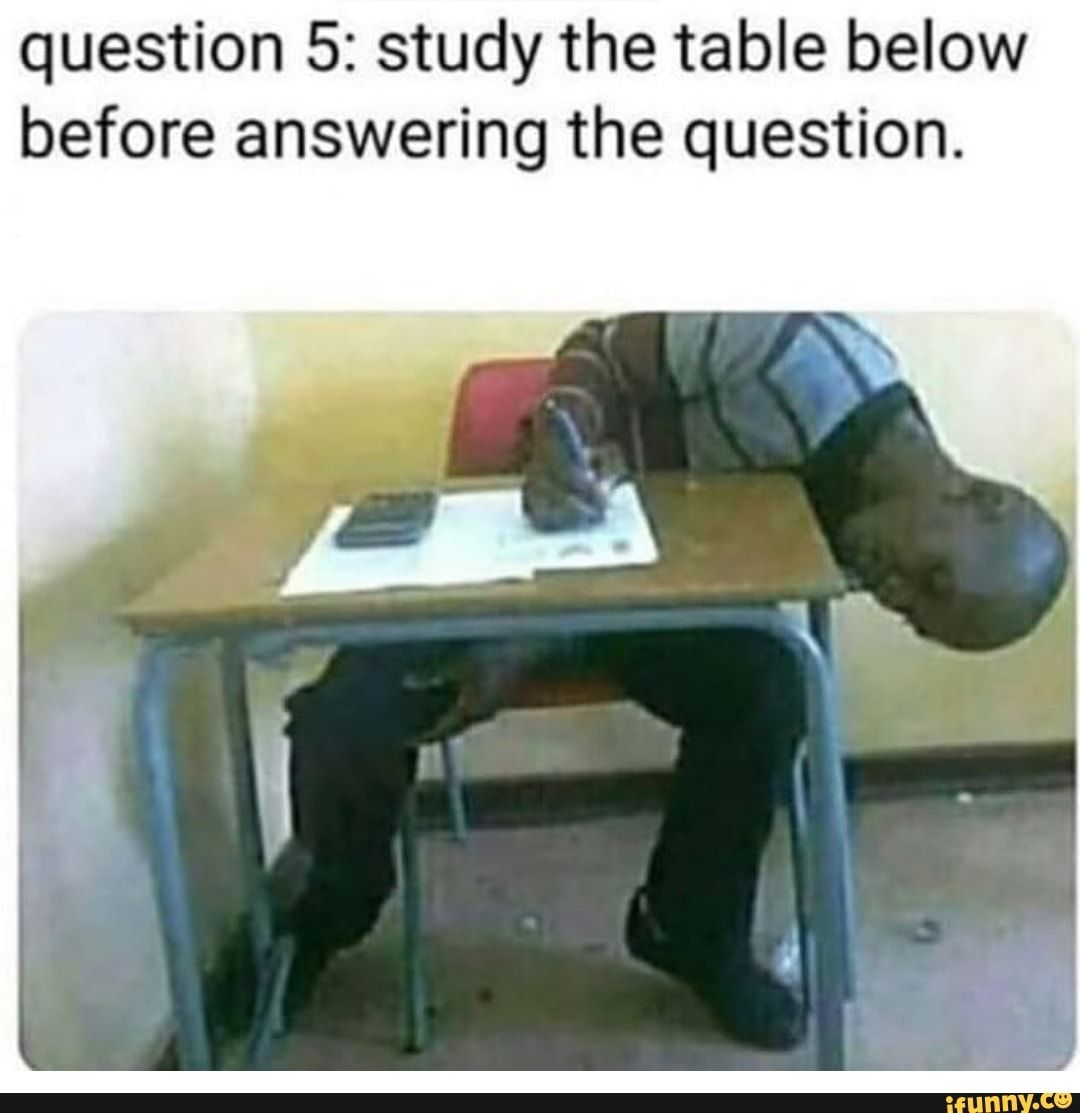 Question 5 Study The Table Below Before Answering The Question Ifunny This Or That Questions Exams Memes Funny Pictures With Captions