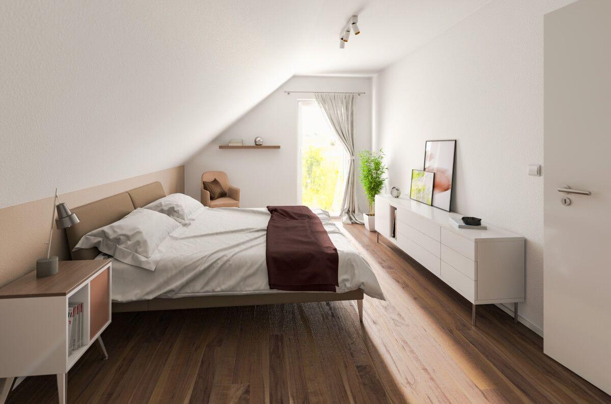 Schlafzimmer modern mit Dachschräge - Einrichtung Ideen Massivhaus