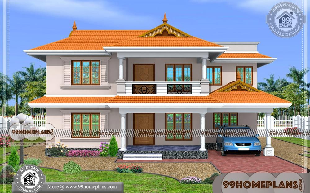 South Indian House Design With Traditional Kerala Style House Designs 2 Floor 4 Total Bedroom House Balcony Design Village House Design Kerala House Design