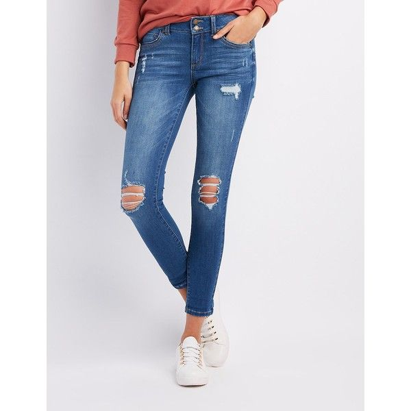 2b1d05daf0f7 Charlotte Russe Destroyed Low-Rise Skinny Jeans ( 25) ❤ liked on Polyvore  featuring jeans