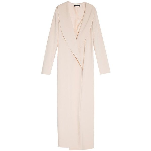 THE ROW Long Coat (45.430 ARS) ❤ liked on Polyvore featuring outerwear, coats, coats & jackets, long oversized coat, long coat, longline coat, pink coat and long wrap coat