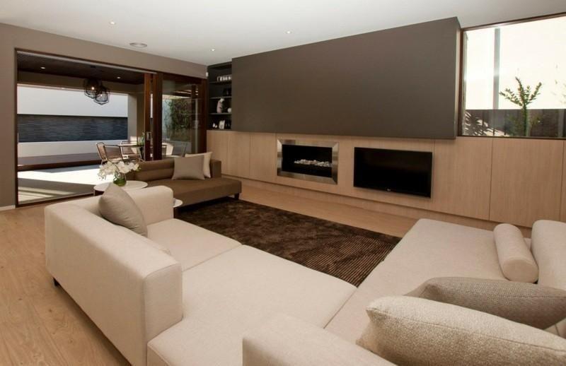Moderne Ideen des Salons von braunen Wänden | Interior ...