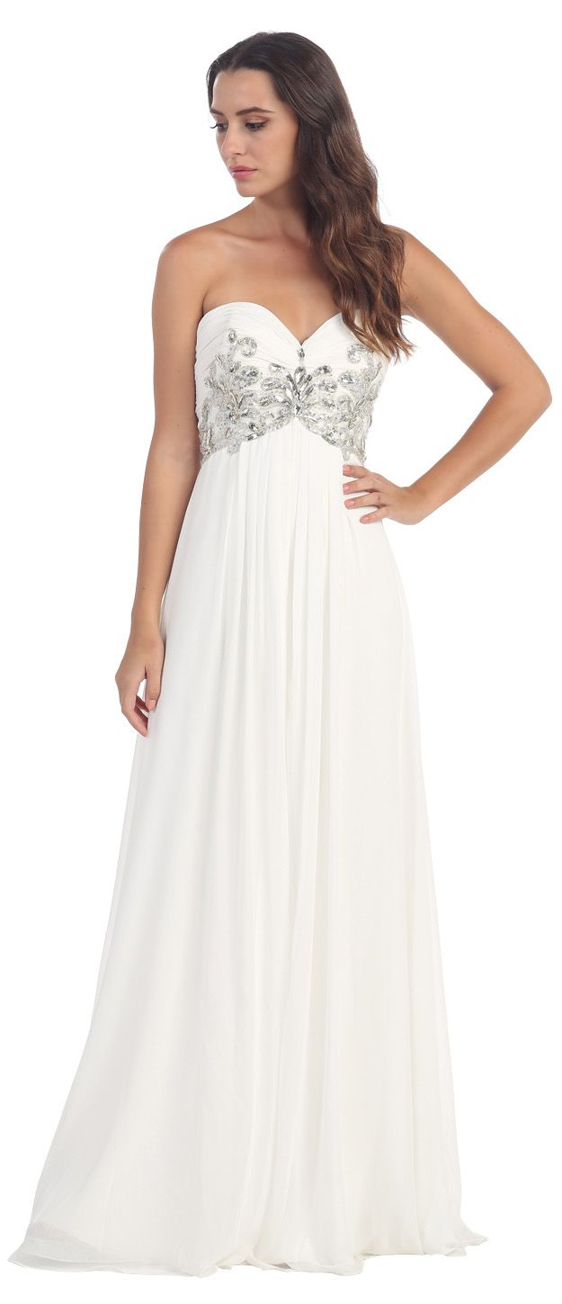 Sweetheart neck white formal gown long flowy strapless white