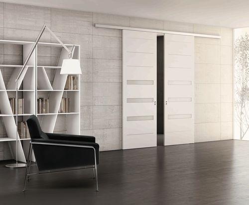 Porte coulissante   en bois   double   semi-vitrée TEKNO by Studio - porte d entree d occasion