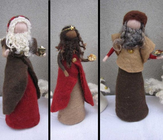 Needle felted and wet felted Nativity Set B felted, Three wise man