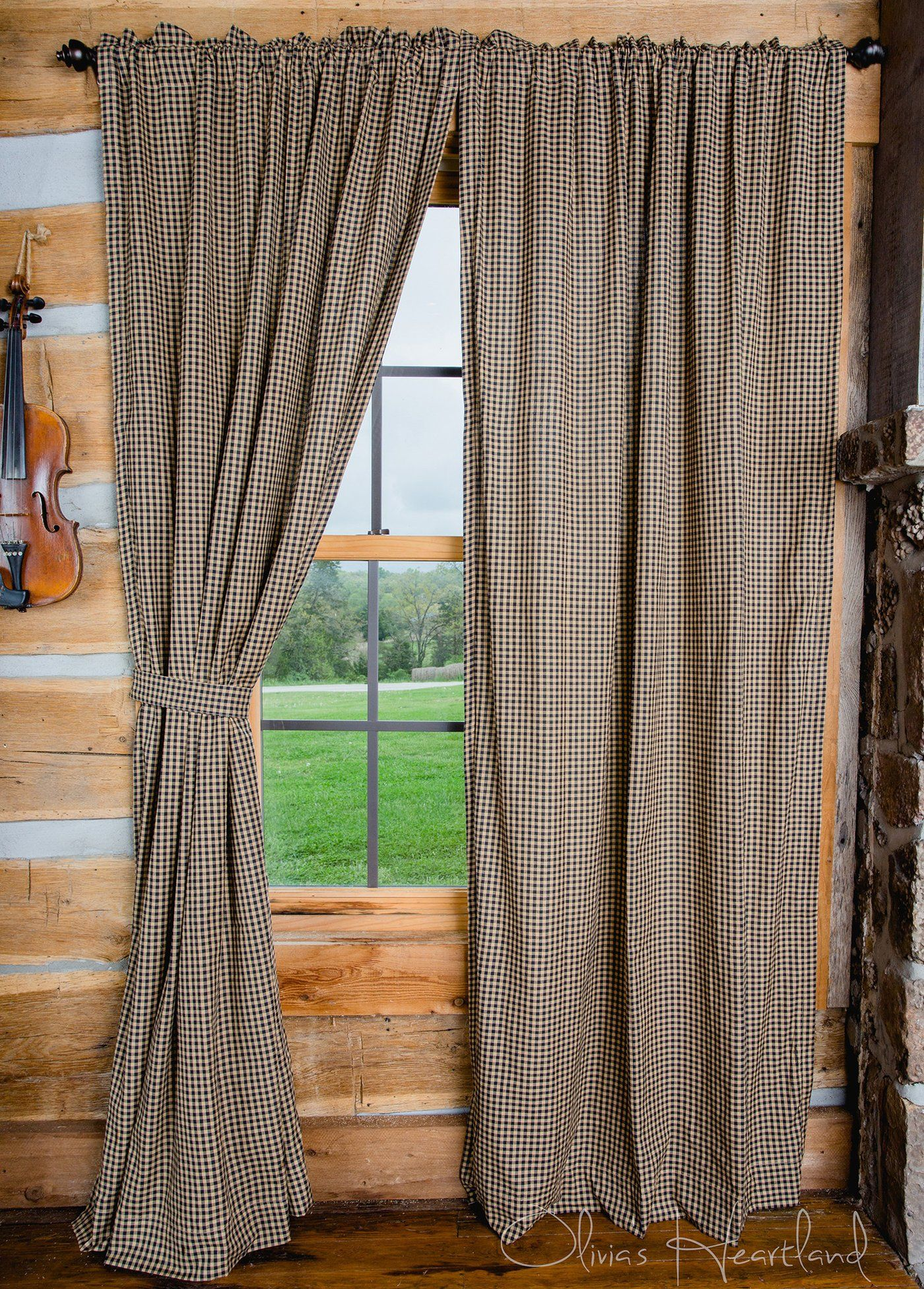 Black Tan Checkered Panel Curtains 84 L Primitive Homes Farmhouse Style Curtains Primitive Curtains