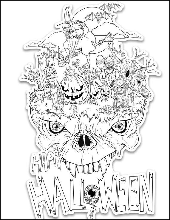 Il 570xn 1309813426 252x Jpg 570 738 Halloween Coloring Sheets Free Halloween Coloring Pages Cool Coloring Pages