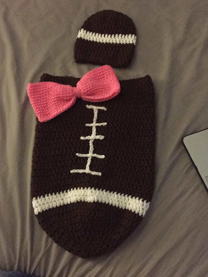 Crochet Football Cocoon With Or Without Bow By Kreativecrochetcorp