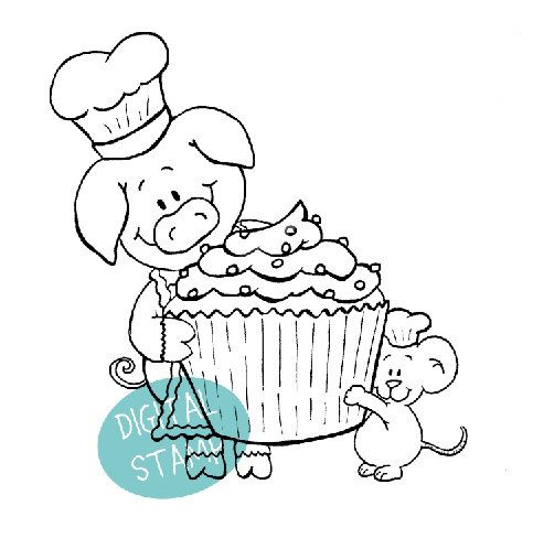 Digital Stamp - Sweet Cupcake from us- Pig and Mouse - Instant Download
