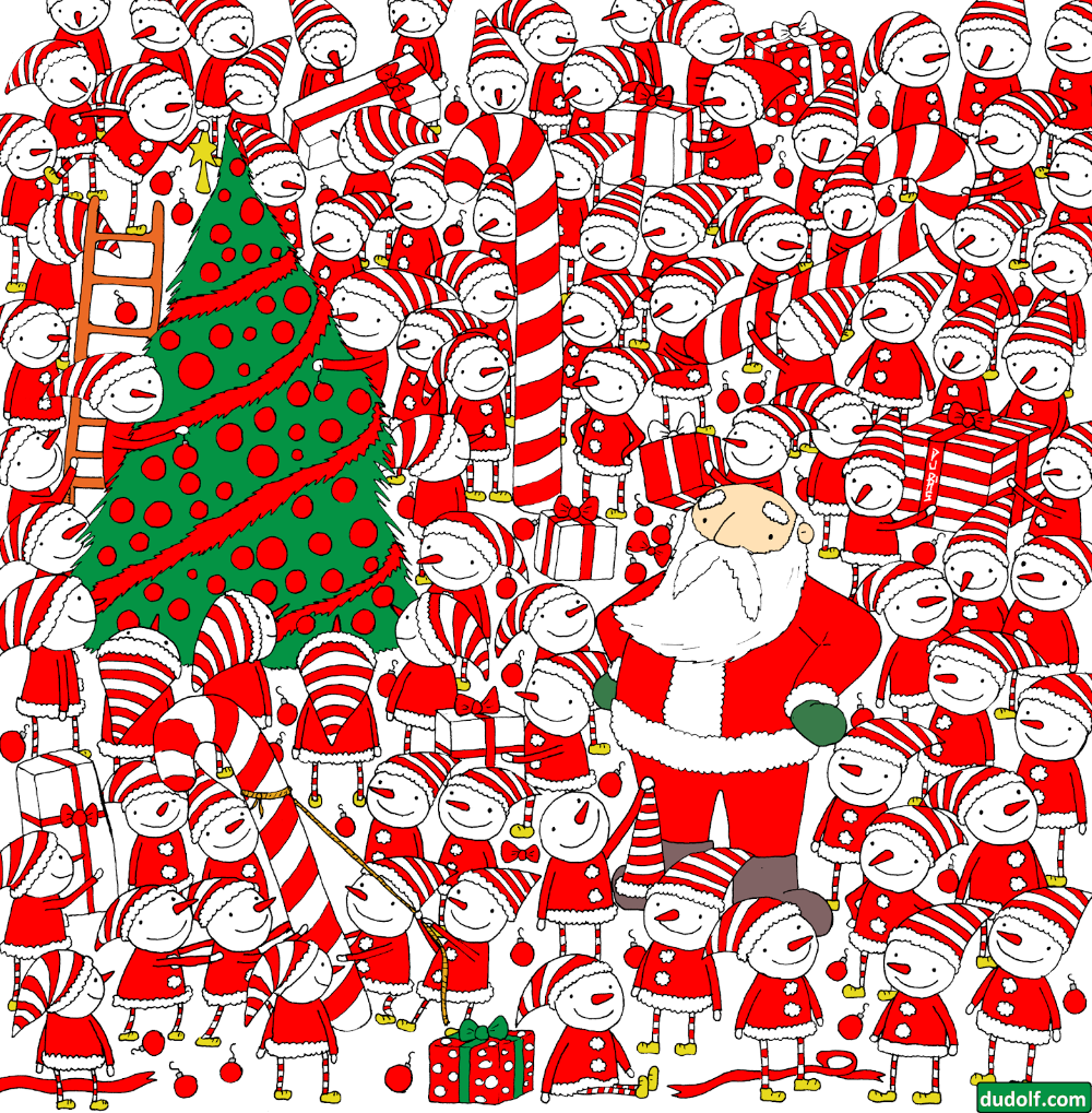 Gergely Dudas Dudolf Christmas Seek And Find Compilation Christmas Quiz Find Santa Brain Teasers
