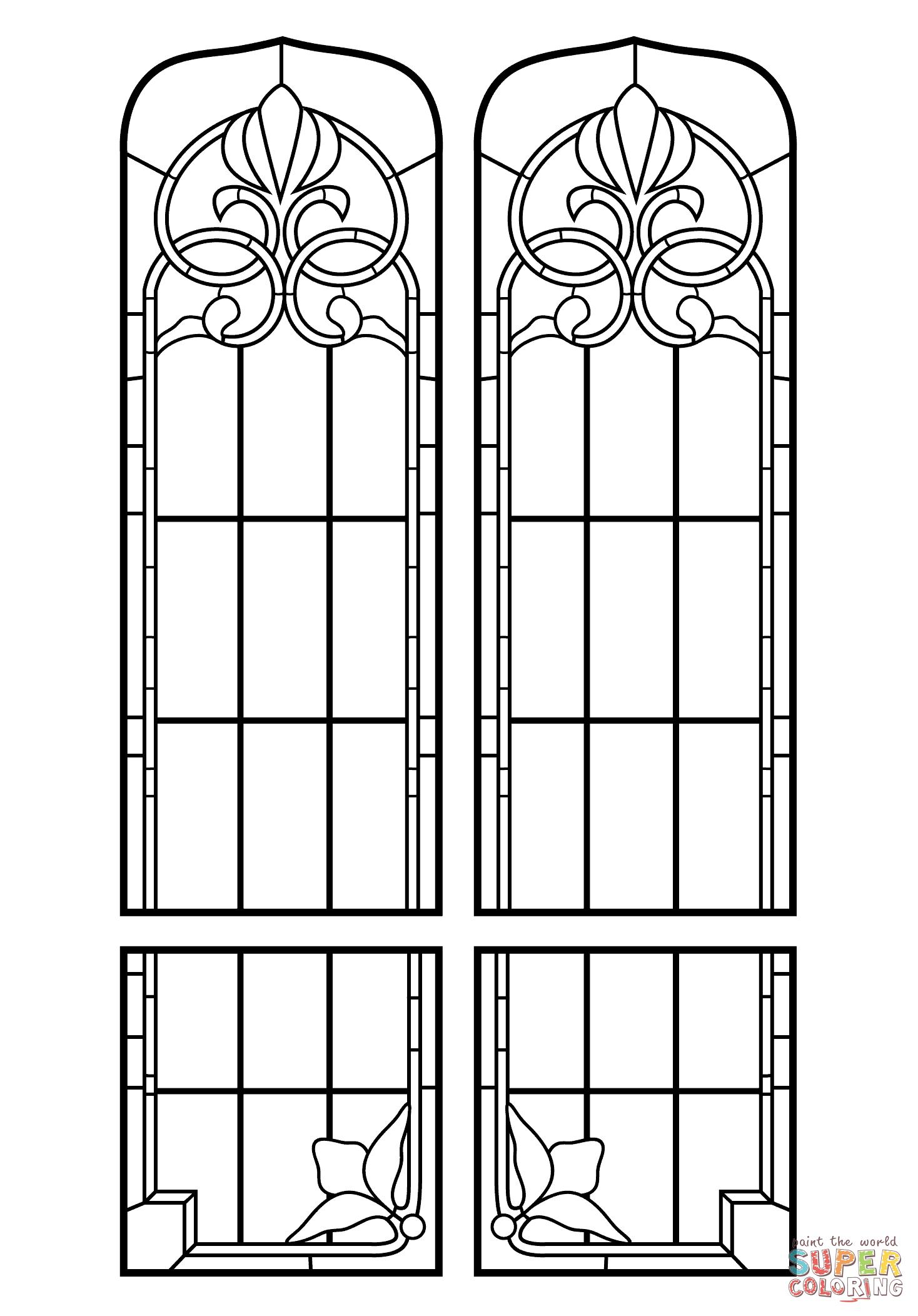 Disegno da colorare di vetrata artistica categorie for Disegni vetrate